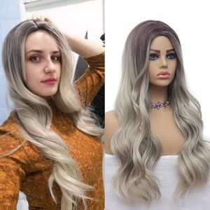 Blonde Long Wavy Dark Roots Synthetic Wig